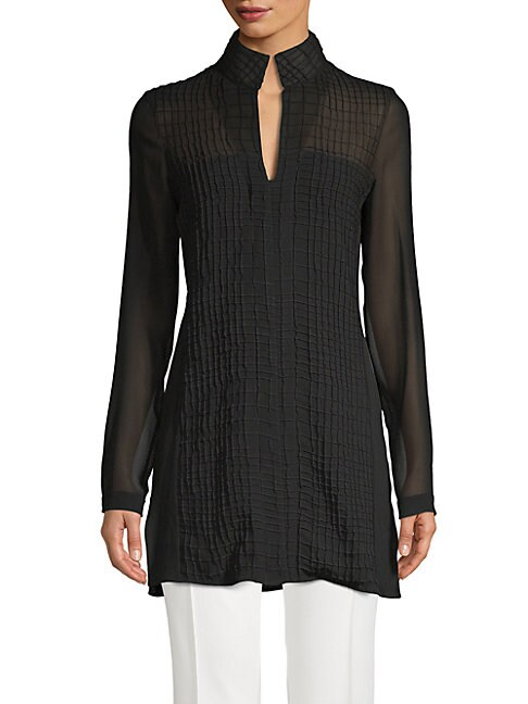 Textured Longline Silk Blouse