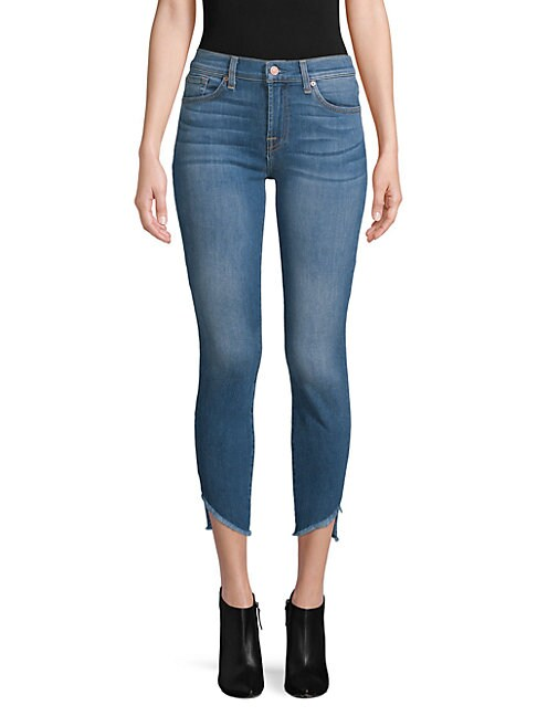 7 FOR ALL MANKIND | Gwenevere Frayed-Cuff Cropped Jeans | Goxip