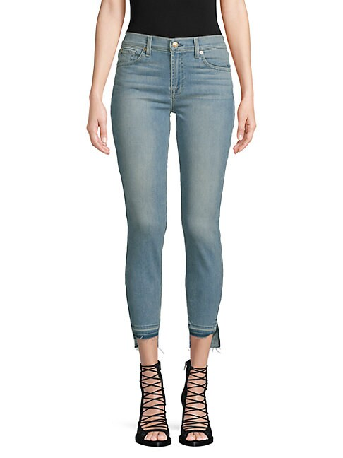 7 FOR ALL MANKIND | Gwenevere Cropped Step-Hem Skinny Jeans | Goxip
