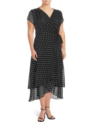 Abs By Allen Schwartz Plus Polka Dot Wrap Dress