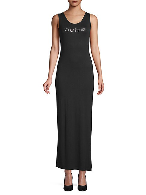 BEBE | Embellished Logo Sheath Dress | Goxip