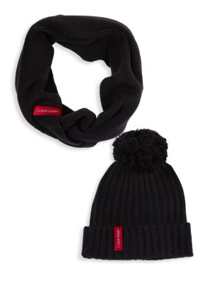 Calvin Klein Pom Pom Hat   Scarf Set In Black  0007c7d39a3