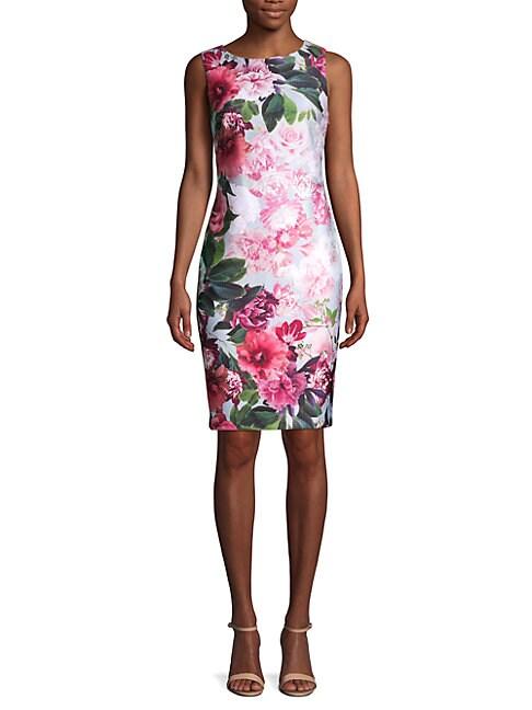 CALVIN KLEIN   Poly Floral Sheath Dress   Goxip