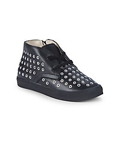 Akid - Little Girl's & Girl's Knight Grommets Leather Chukka Sneakers