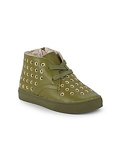 Akid - Litle Girl's & Girl's Knight Grommets Leather Chukka Sneakers