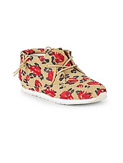 Akid - Little Girl's & Girl's Stone Leopard Lips Suede Chukka Sneakers
