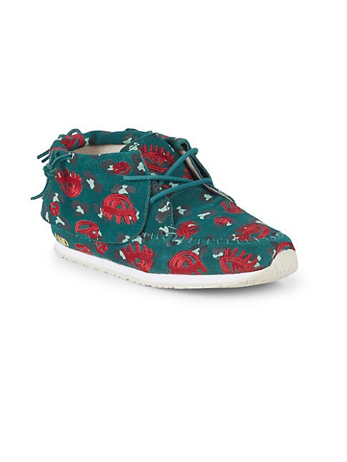 AKID Little Girl'S & Girl'S Stone Leopard Lips Suede Chukka Sneakers