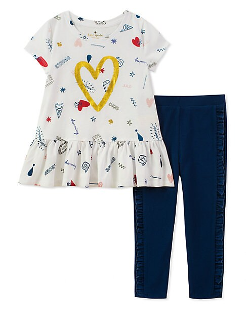 BABY GIRL'S TWO-PIECE DOODLE-PRINT COTTON TOP AND LEGGINGS SET