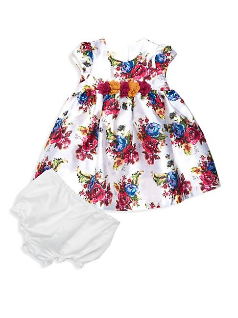 Baby Girls Floral Print FitAndFlare Dress  Bloomers