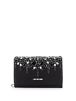 Love Moschino - Embellished Satin Convertible Clutch