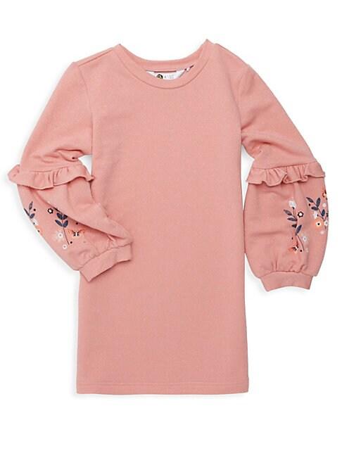 Little Girls Metallic Ruffled Sweater Dress
