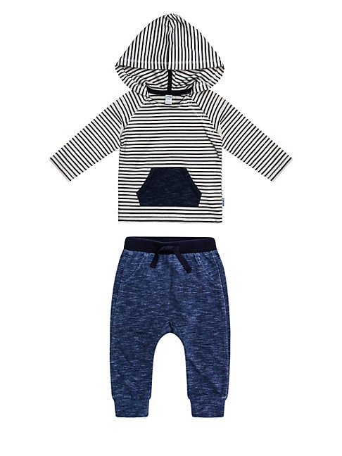 Baby Boys TwoPiece Monster Striped French Terry Hooded Top  Pants Set