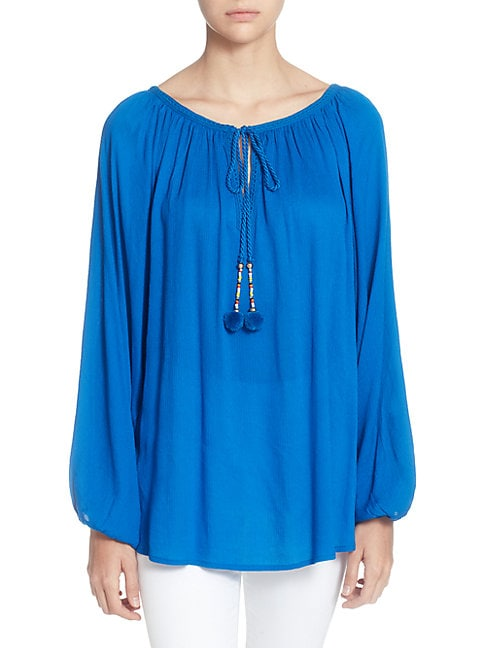 CATHERINE CATHERINE MALANDRINO Tie-Front Scoop-Neck Full-Sleeves Raglan Top in Blue