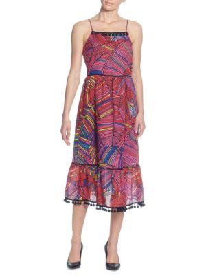 Scoop-Neck Sleeveless Multicolor Palm-Print Maxi Dress W/ Pompom Trim