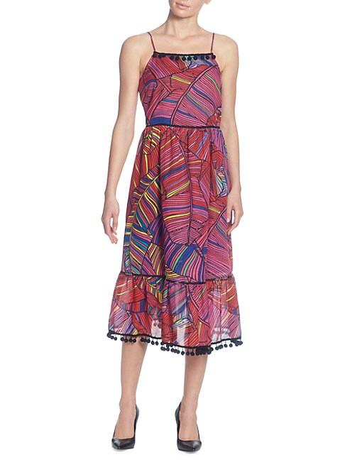 CATHERINE CATHERINE MALANDRINO Scoop-Neck Sleeveless Multicolor Palm-Print Maxi Dress W/ Pompom Trim