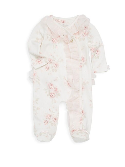 MINICLASIX Baby Girl'S Floral-Print Ruffle Footie