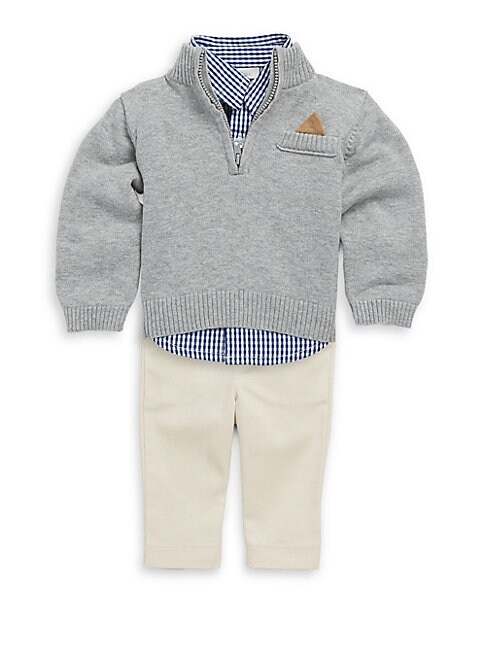 BABY BOY'S COTTON THREE-PIECE BUTTON-DOWN CHECKER SHIRT, RIB-KNIT SWEATER & PANTS SET