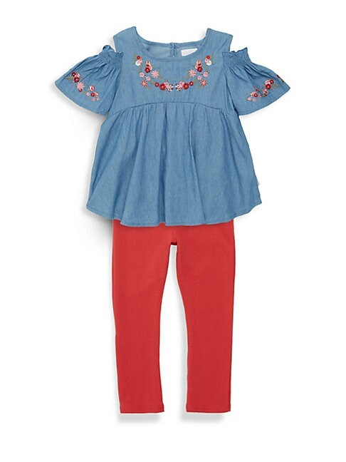 Little Girls 2Piece Cold Shoulder Top and Leggings Set