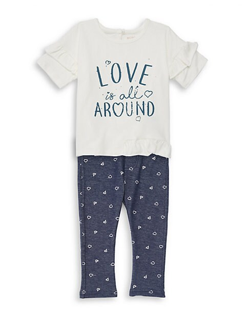 Little Girls 2Piece Ruffle Heart Motif Tee and Legging Set