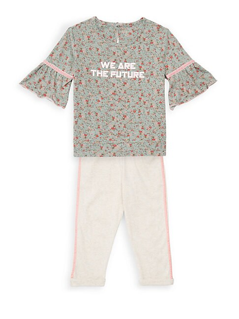Little Girls 2Piece Olive Floral Tee and Legging Set