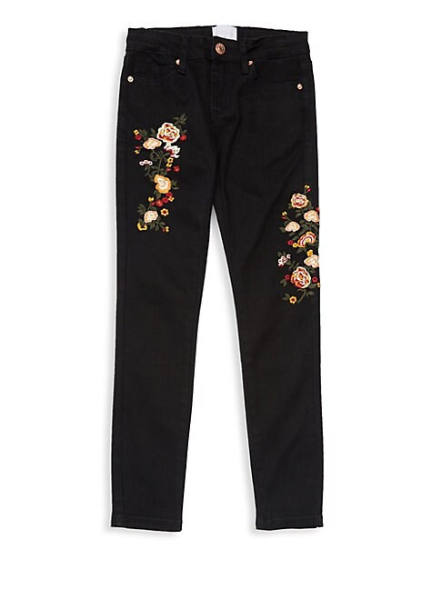 Girl's Floral Embroidered Jeans