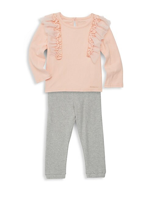 Little Girls 2Piece Ruffle Tee  Legging Set