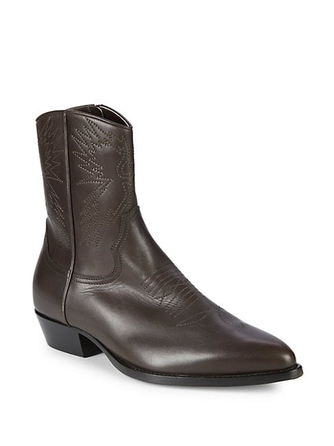 Point Toe Leather Cowboy Boots