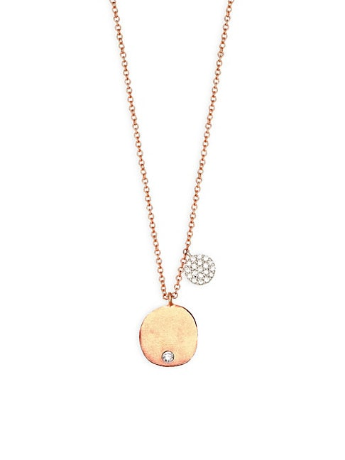 14K ROSE GOLD & DIAMOND DISC PENDANT NECKLACE