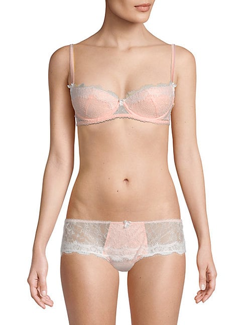 MIMI HOLLIDAY Lace Underwire Demi Bra in Baby Pink