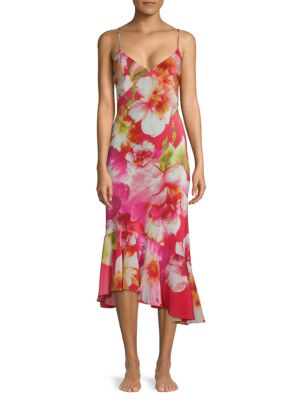Josie Floral Silk Trumpet Dress