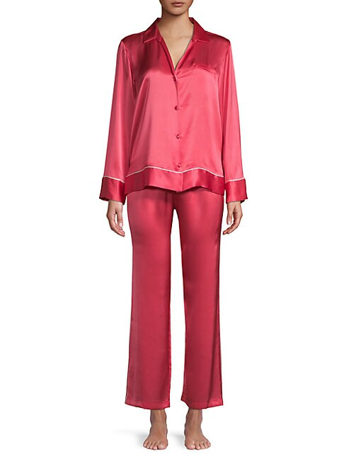 Josie Natori Two-Piece Silk Pajama Set