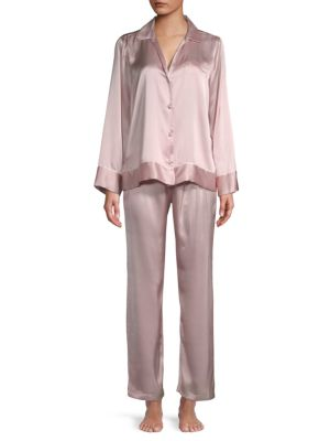 Josie Josie Natori Two-Piece Silk Pajama Set