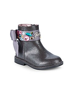 Juicy Couture - Little Girl's & Girl's Satin Gem Bow Booties