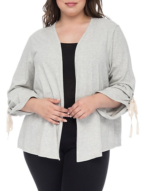 Nia Ruched-Sleeve Cotton Cardigan