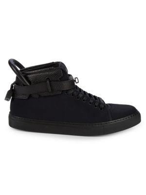Buscemi Pebbled Leather Ankle Strap High-Top Sneakers
