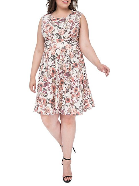 Plus Skye Knit Floral Print Dress