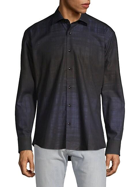 BERTIGO | Ombre Jacquard Button-Down Shirt | Goxip