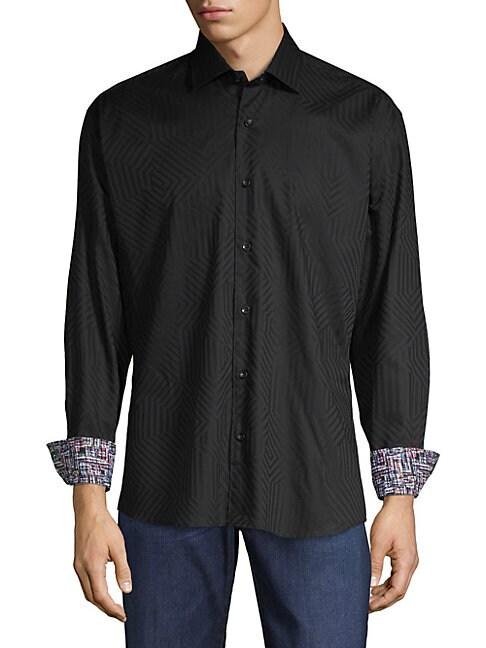BERTIGO | Jacquard Button-Down Shirt | Goxip