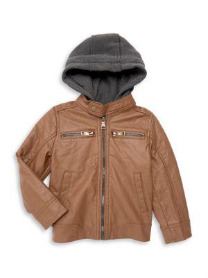 Urban Republic Boys Texture Faux Leather Jacket Patch Pocket Sleeve