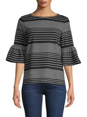 Max Studio Bell-Sleeve Striped Top