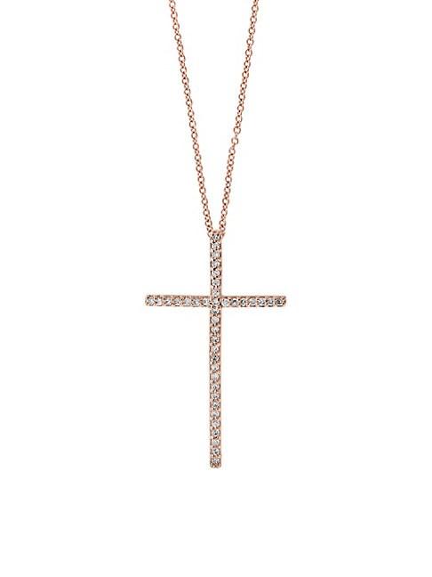 EFFY | Cross 14K Rose Gold & Diamond Pendant Necklace | Goxip