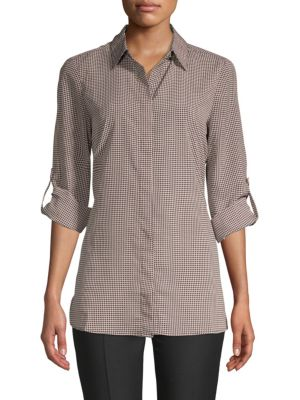 Ellen Tracy Printed Roll-Sleeve Button-Down Shirt