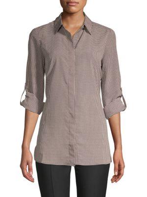 Ellen Tracy Printed Roll-Sleeve Button-Down Shirt