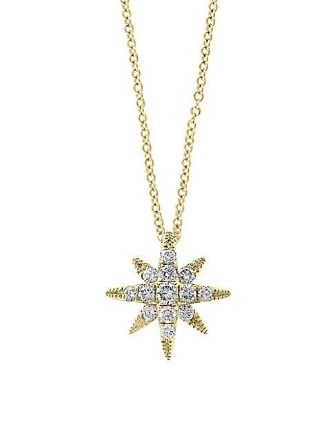 EFFY | Starburst 14K Yellow Gold & Diamond Pendant Necklace | Goxip