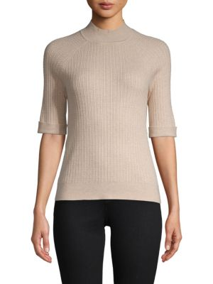 Ellen Tracy Short-Sleeve Cable Top