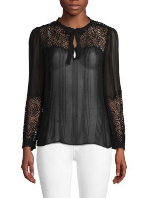 Silk Tie Lace Blouse in Black