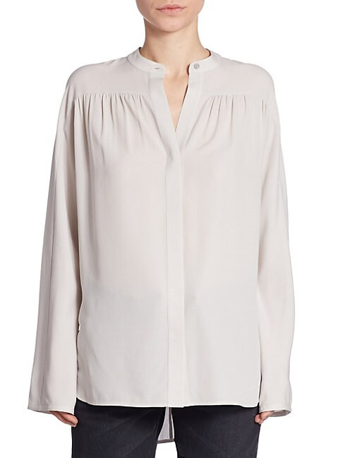 SHIRRED SILK BLOUSE
