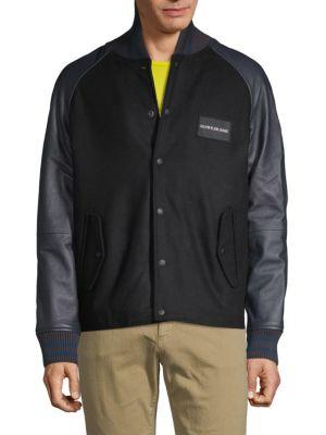 Calvin Klein Jeans Est.1978 Leather Sleeve Varsity Jacket