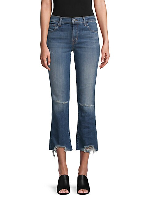 SELENA DISTRESSED CROPPED JEANS
