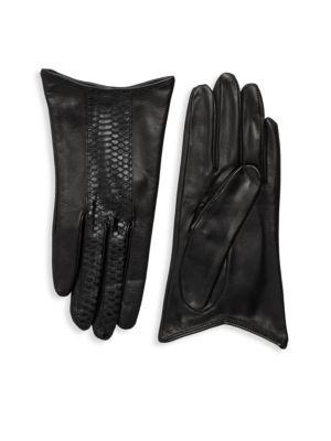 Portolano Gloves SNAKE-PRINT STRIPED LEATHER GLOVES
